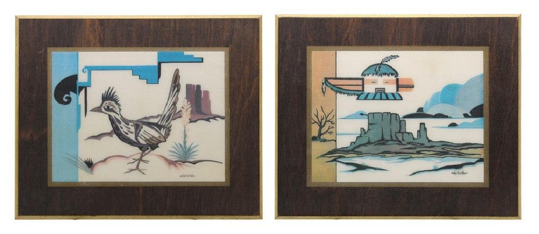 (2) Vintage Native American Style Wooden Art Plaques by