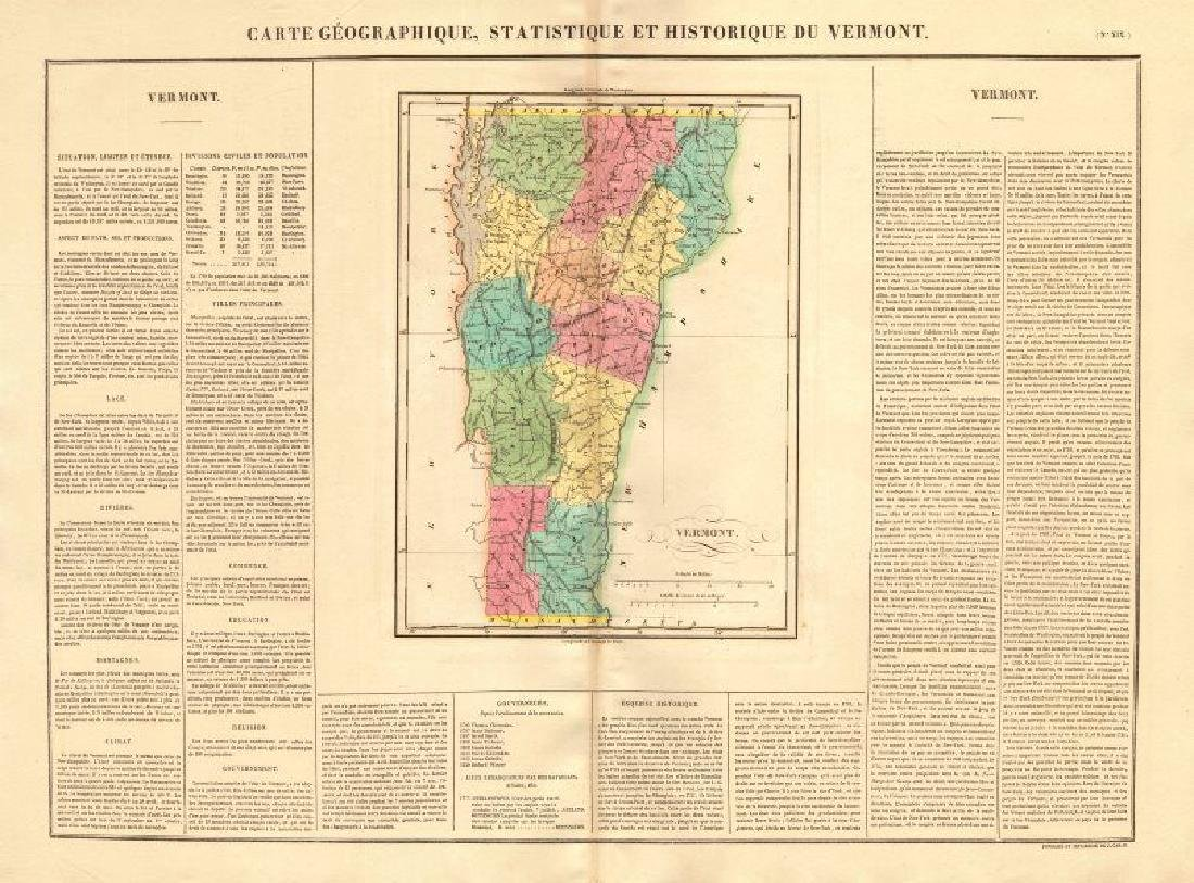 Vermont antique state map. Counties. BUCHON, 1825