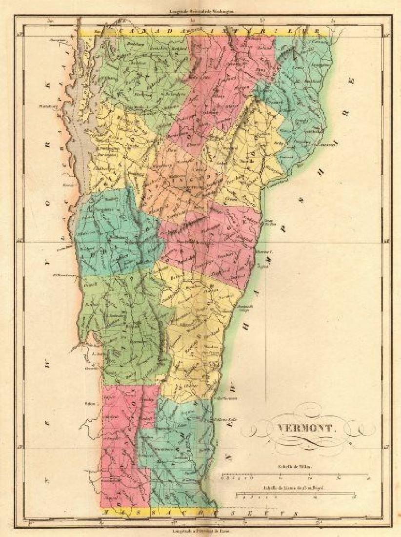 Vermont antique state map. Counties. BUCHON, 1825 - 3