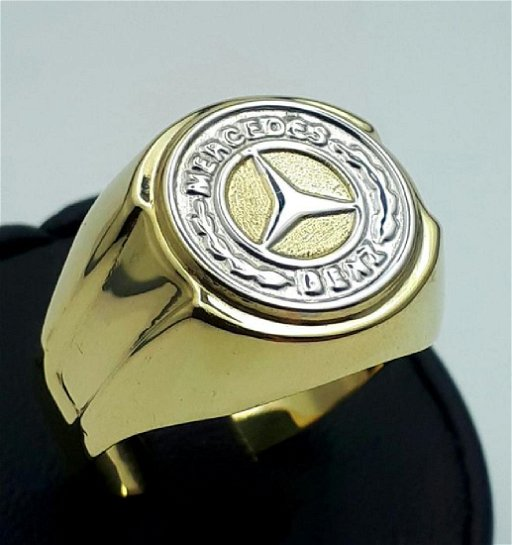 14/ 585 Ct Yellow & White Gold Vintage Mercedes Ring