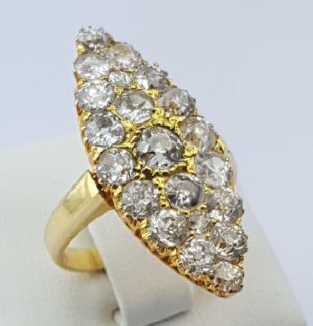 Vintage Marquise Ring with Old Cut Diamonds, 18Ct