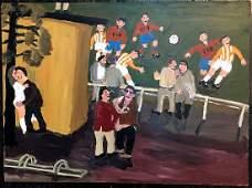 Kent Iwemyr Acrylic Paint on Board Soccer Match
