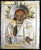 Antique 19c Russian Silver icon of st.Nicholas