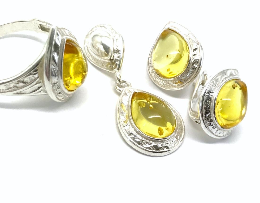 Sterling silver Baltic amber set ring earrings pendant