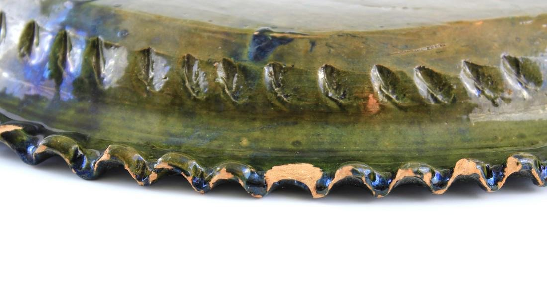 Vintage Mexican Iridescent Green Glazed Double Handle - 3