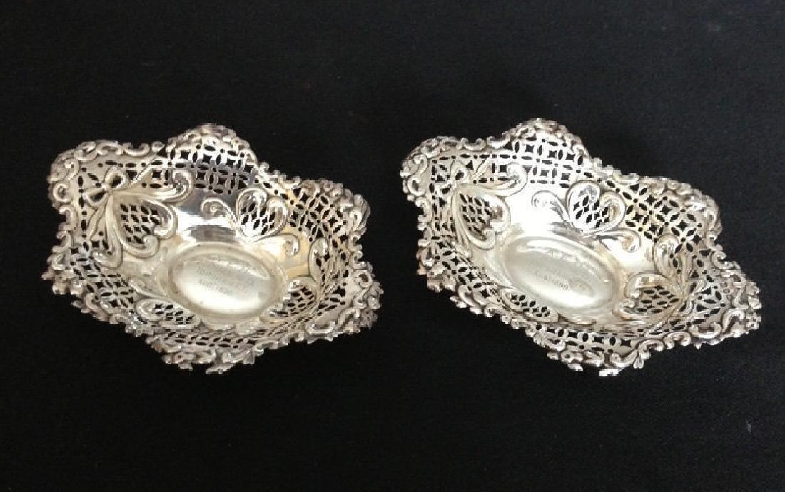 Pair of English silver basket bowls, Victorian