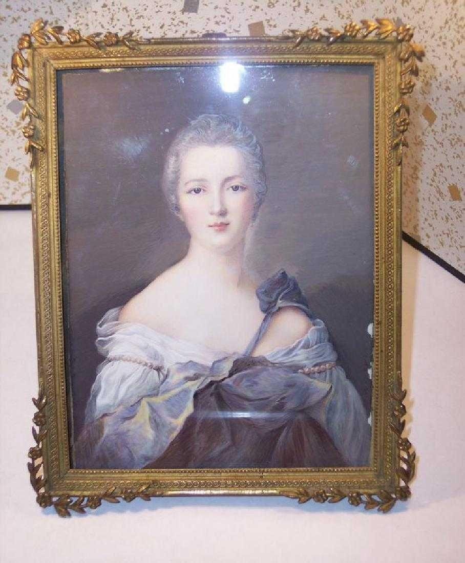 Antique Miniature Portrait Painting Royal Lady Bronze
