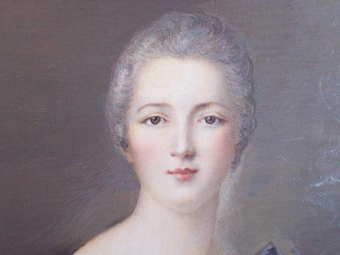 Antique Miniature Portrait Painting Royal Lady Bronze - 2