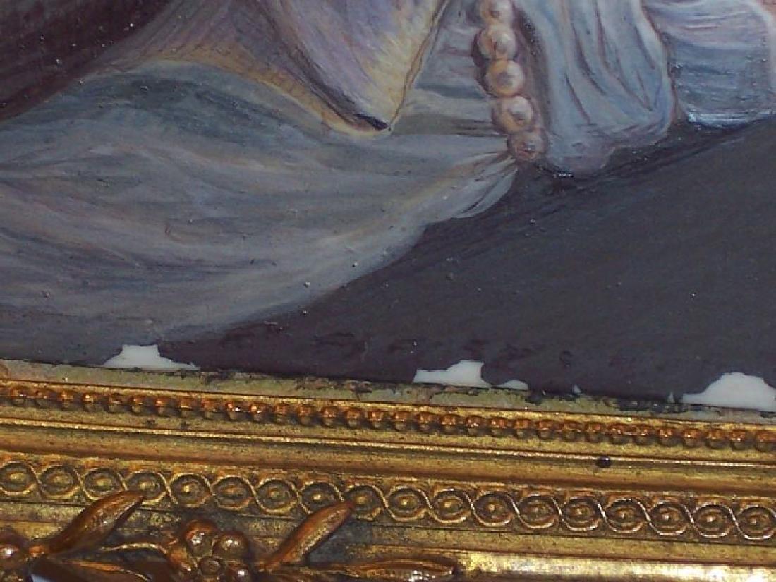 Antique Miniature Portrait Painting Royal Lady Bronze - 4