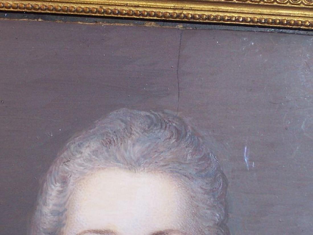 Antique Miniature Portrait Painting Royal Lady Bronze - 6