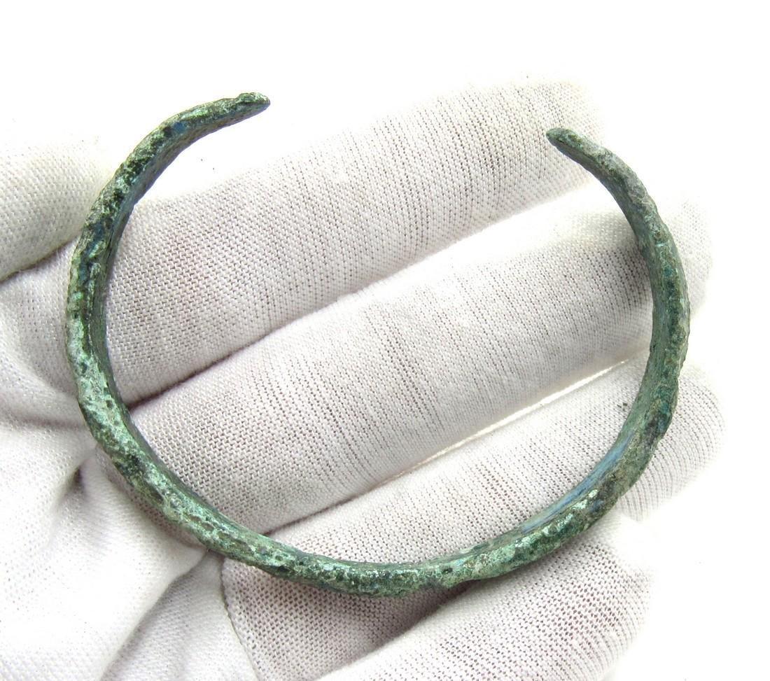 Medieval Viking Era Bronze Bracelet with Sun & X Motifs - 4