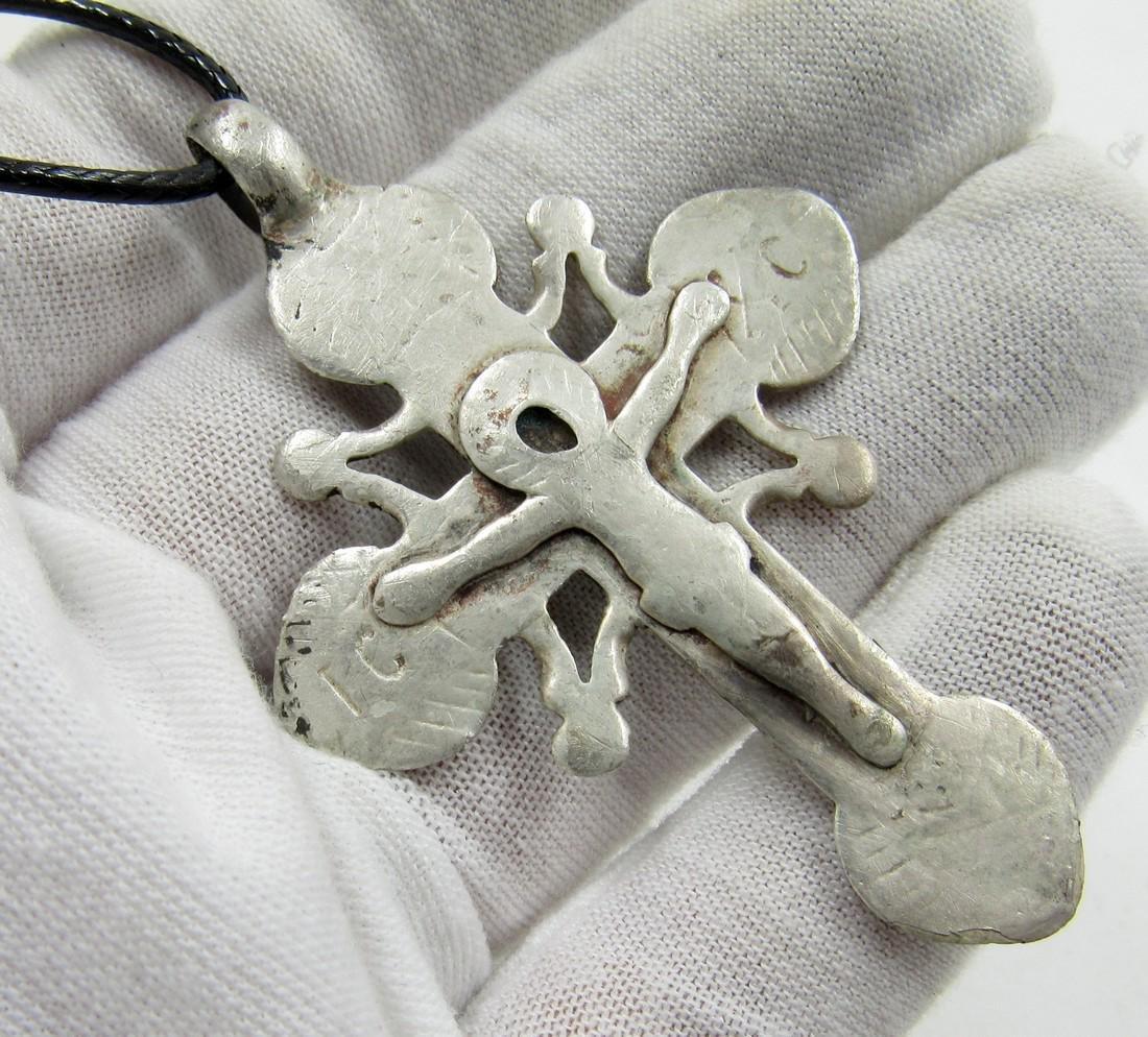 Medieval Crusaders Era Silver Cross Pendant with Jesus - 3