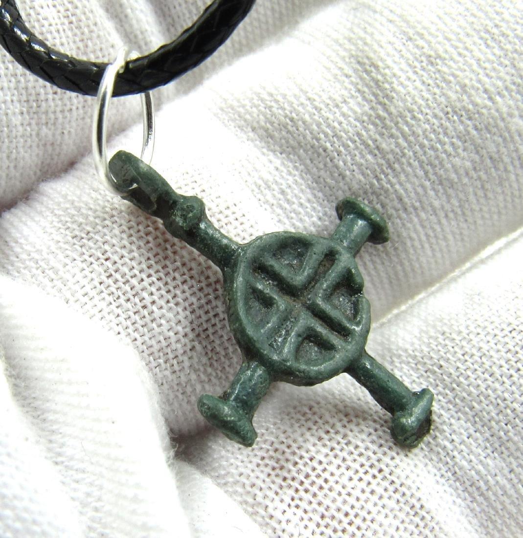 Medieval Viking Era Bronze Cross Pendant - 3