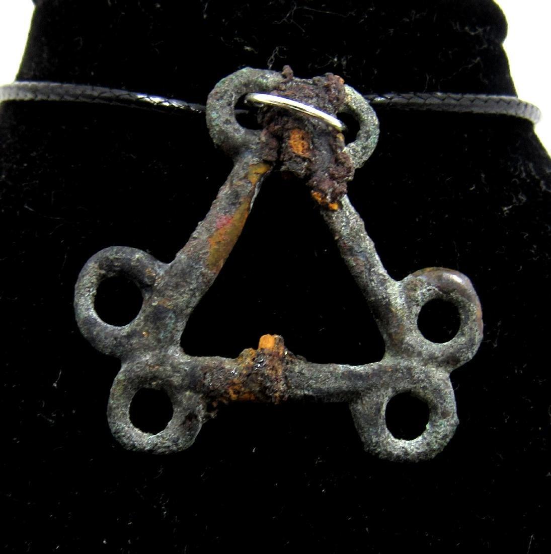 Medieval Viking Era Bronze Open-Work Interlaced Pendant