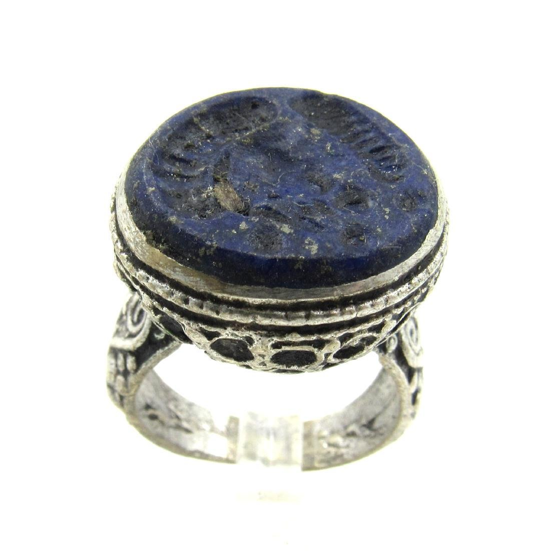 Sasanian Silver Ring with Lapis Intaglio Bust