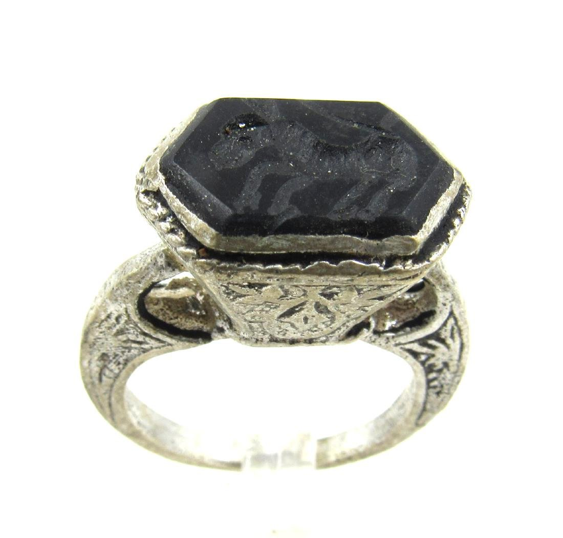 Post Medieval Silver Ring with Stone Intaglio Horse