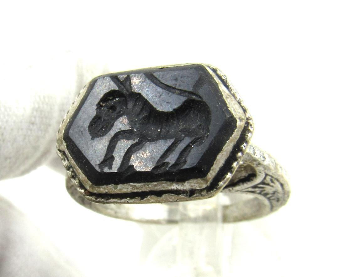 Post Medieval Silver Ring with Stone Intaglio Horse - 2