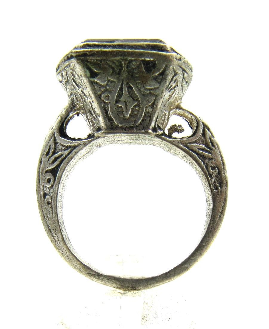Post Medieval Silver Ring with Stone Intaglio Horse - 3