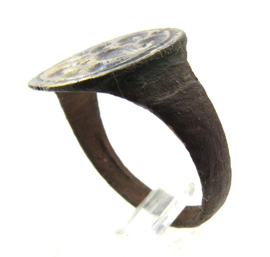 Medieval Crusaders Era Bronze Heraldic Ring with Family - 3