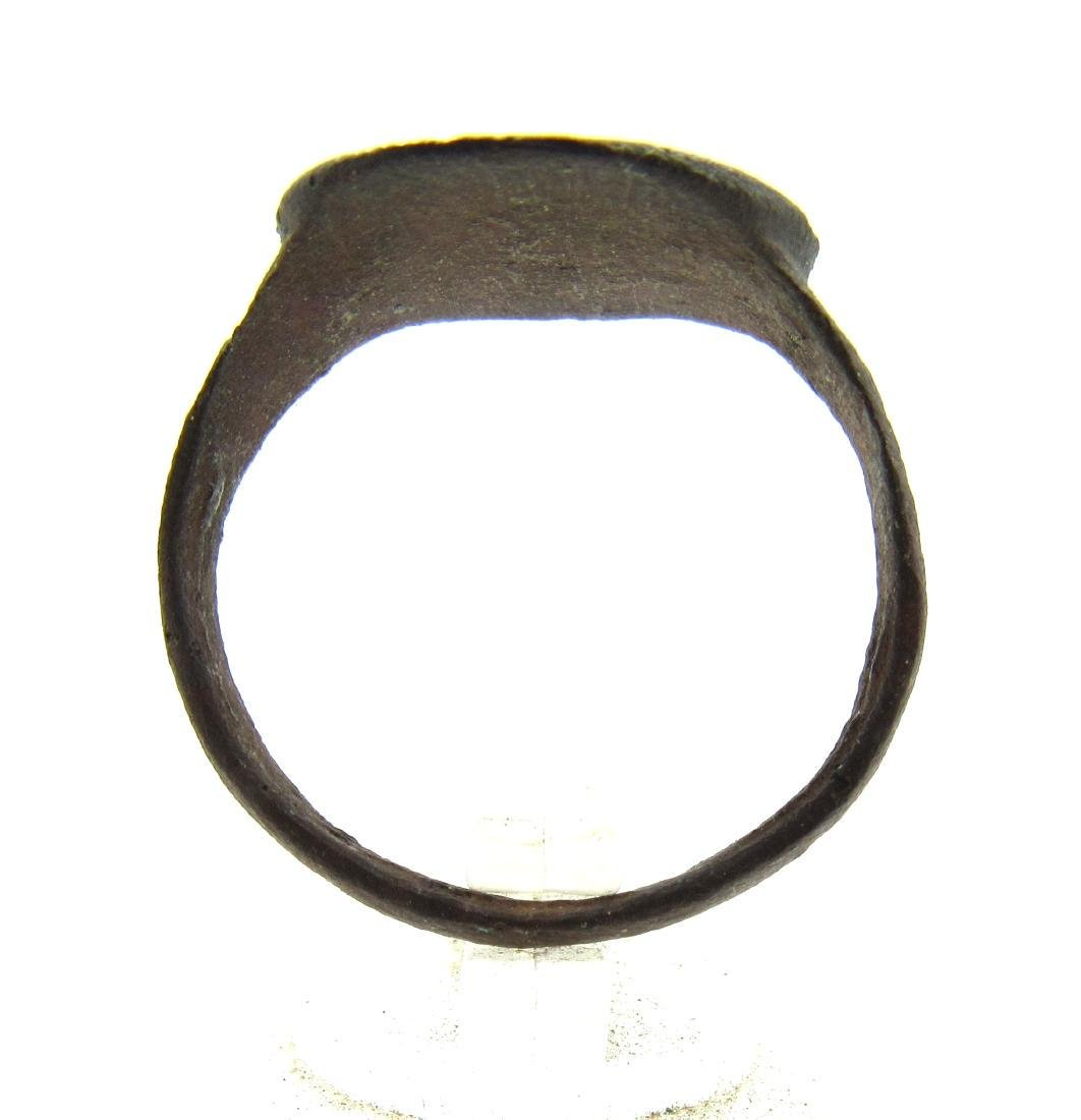 Medieval Crusaders Era Bronze Heraldic Ring with Family - 4