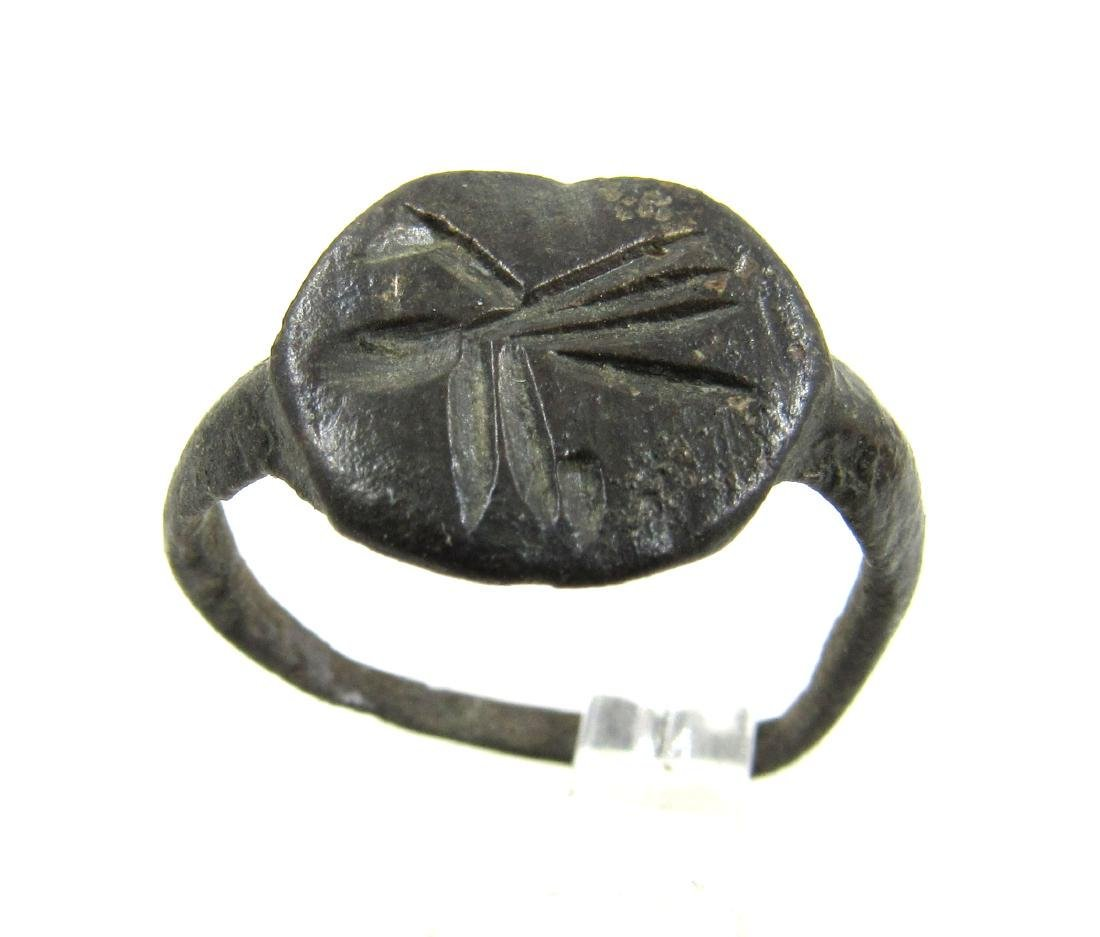 Ancient Roman Bronze Ring with Bird on the Bezel