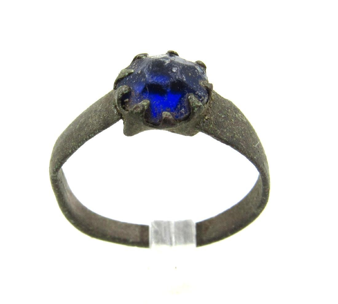 Post Medieval Bronze Ring with Glass in the Bezel