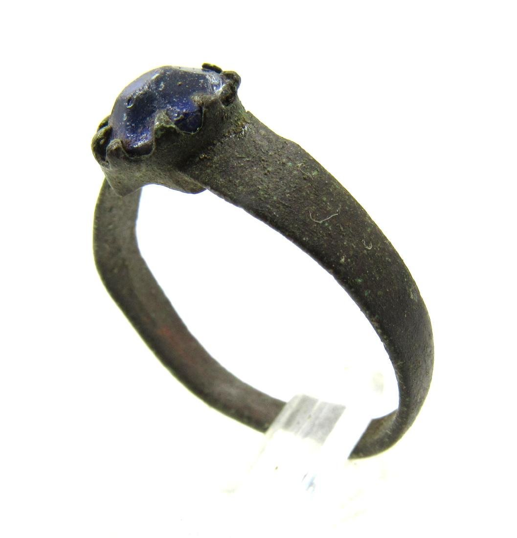 Post Medieval Bronze Ring with Glass in the Bezel - 2