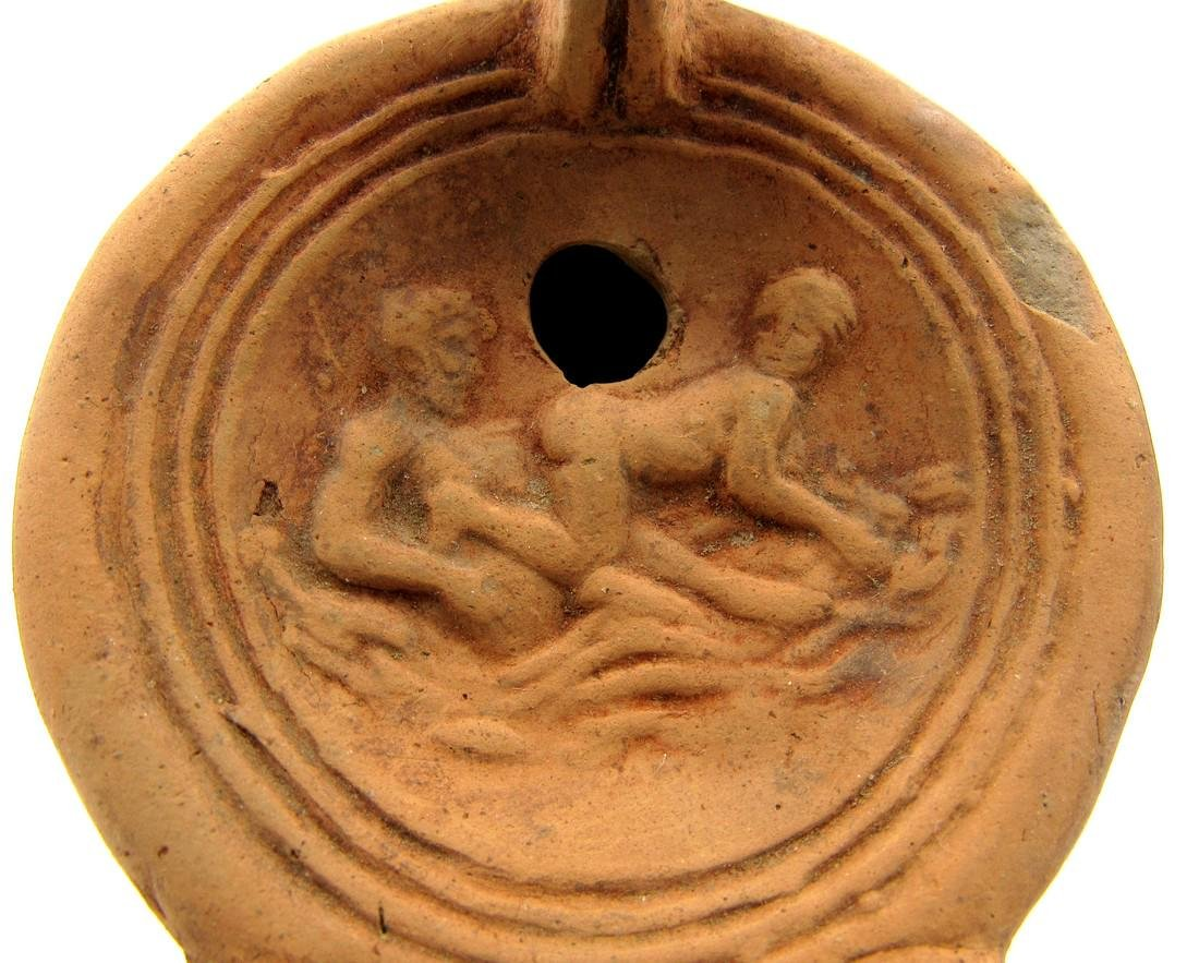 Ancient Roman Terracotta Oil Lamp with Erotic Scene - 2