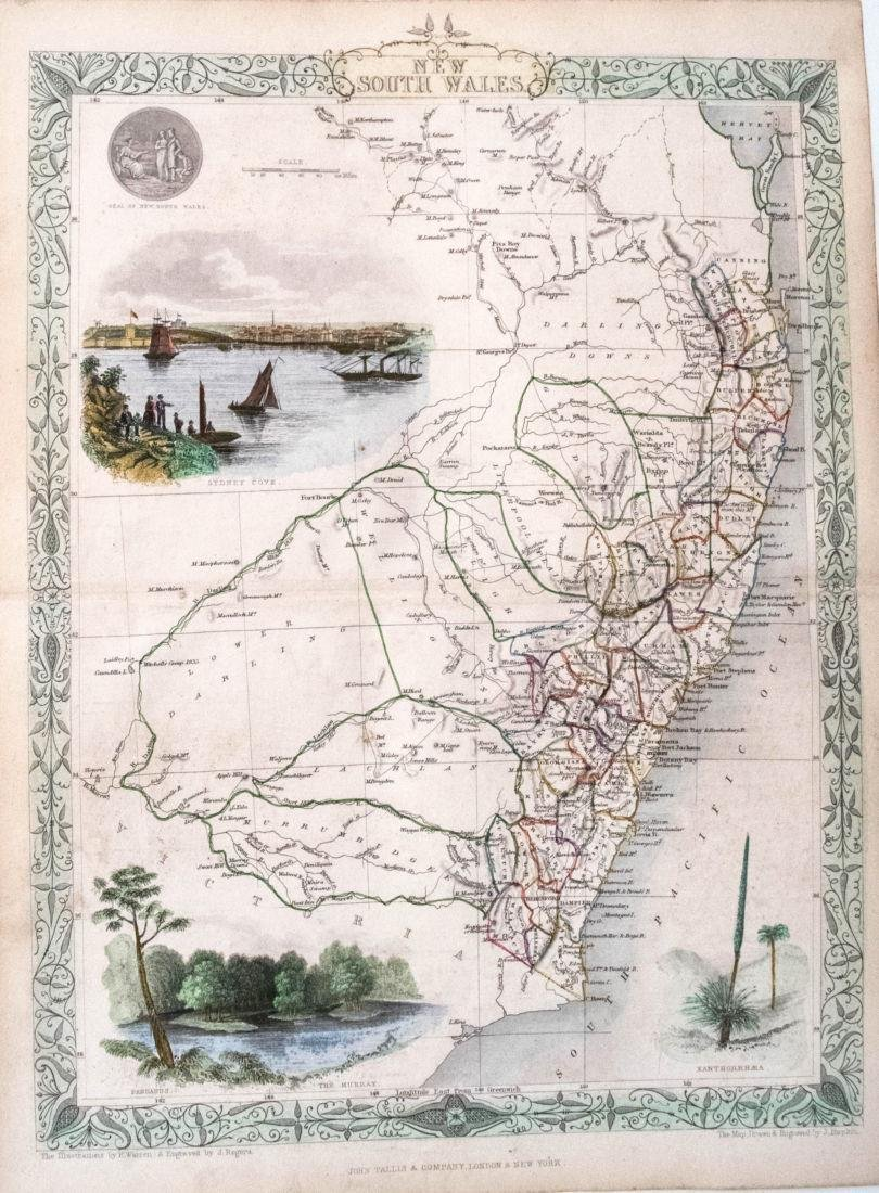 1855 Tallis Map of New South Wales, Australia -- New