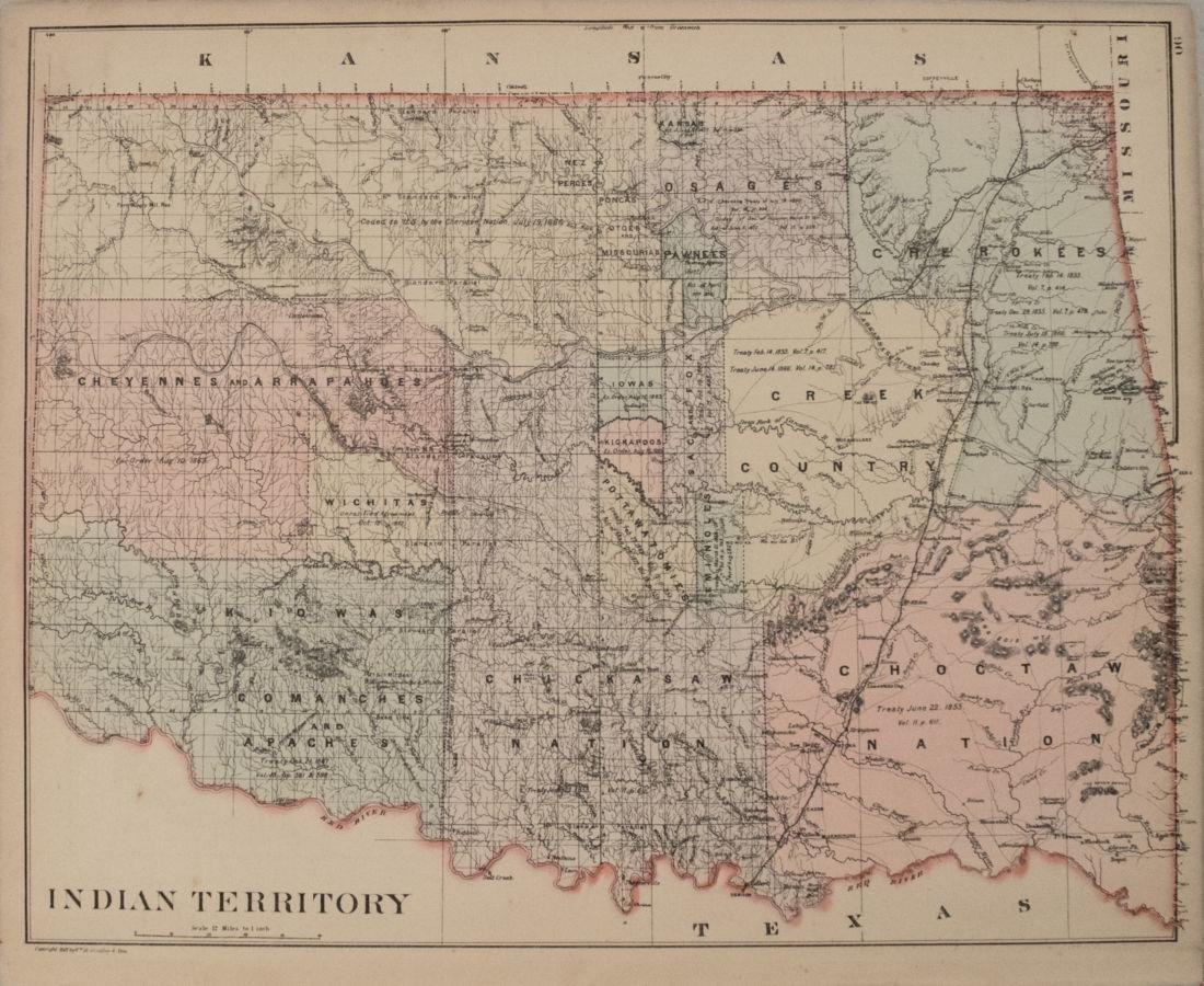 1887 Mitchell Map od Indian Territory -- Indian