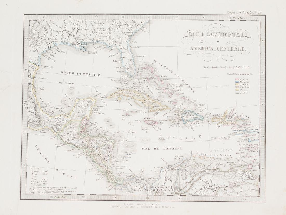 Map Western Indias and Central America 1860 Adolf