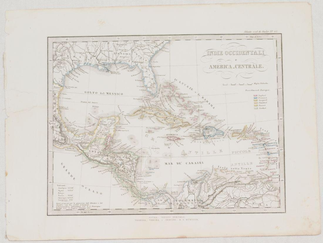 Map Western Indias and Central America 1860 Adolf - 2