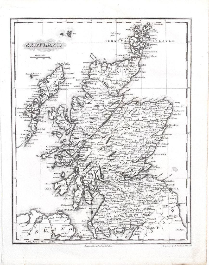 1834 Malte-Brun Map of Scotland -- Scotland