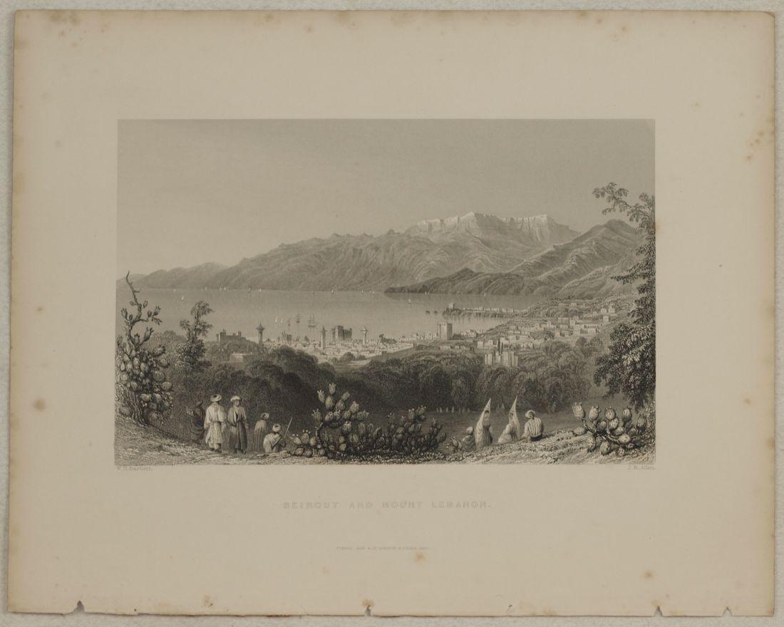 Animated view Beirut Lebanon 1840 Steel etching J. B.