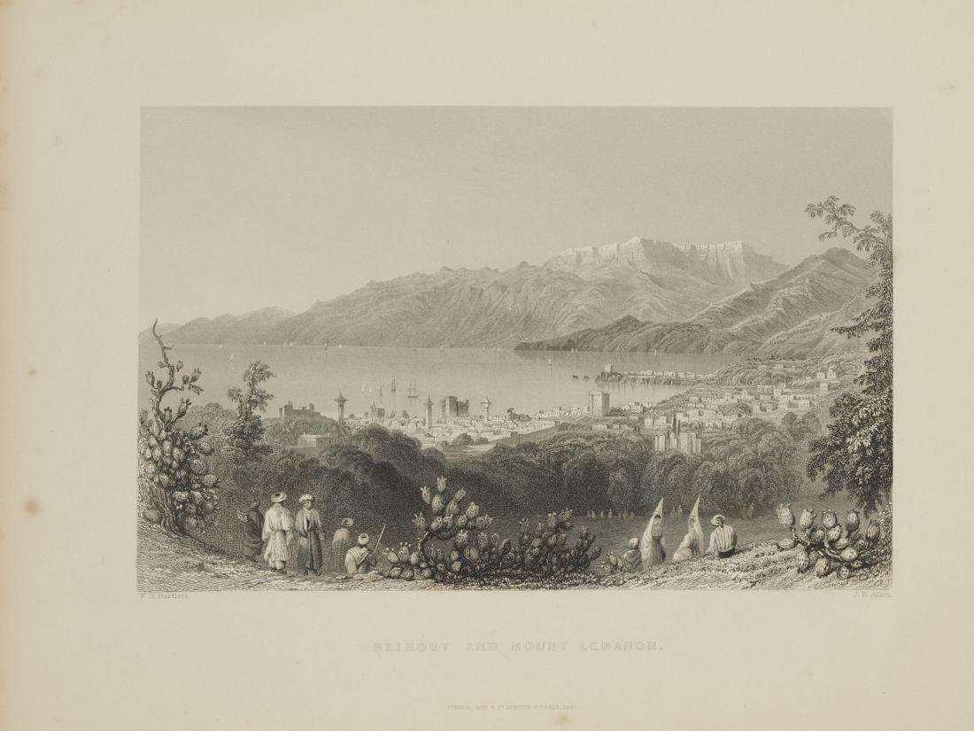 Animated view Beirut Lebanon 1840 Steel etching J. B. - 2