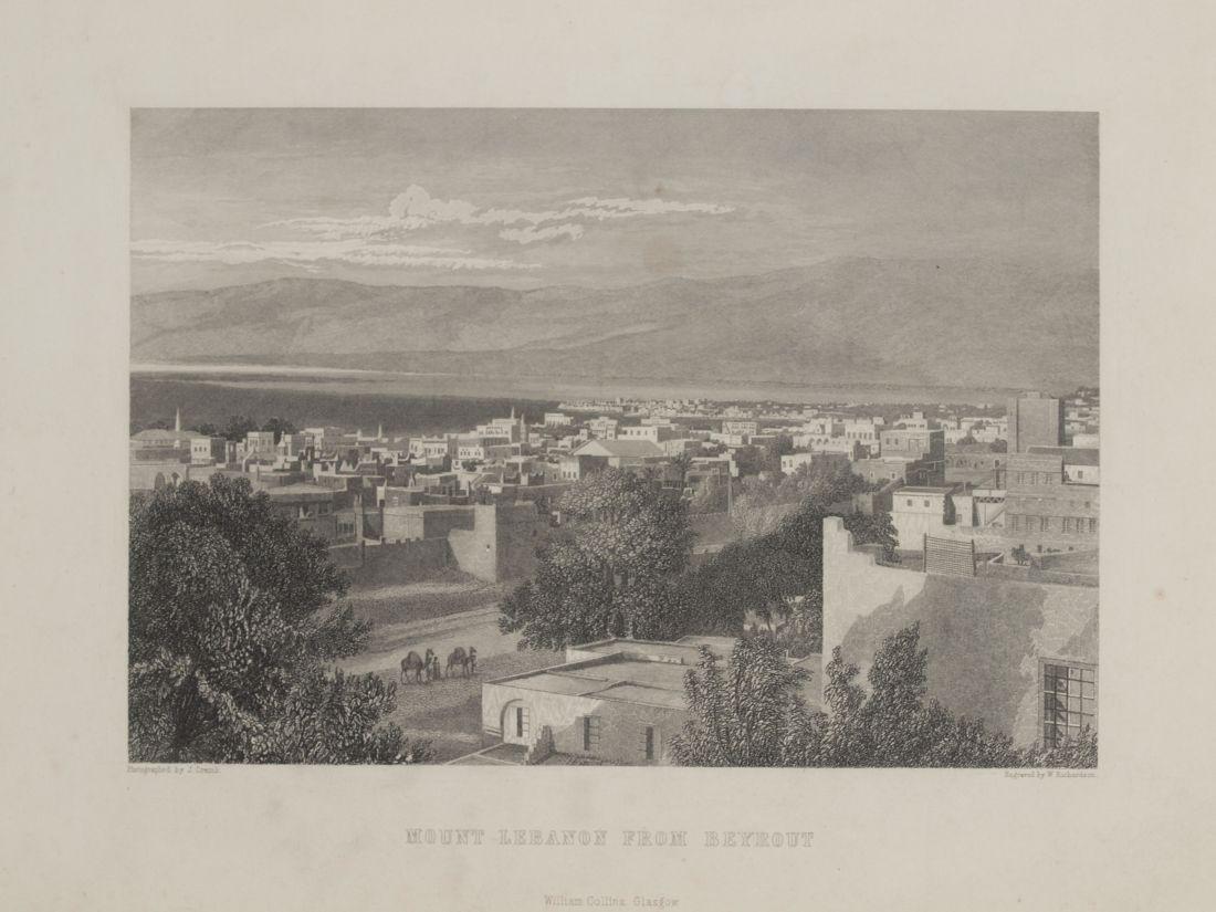 Animated view Mount Lebanon from Beirut Lebanon 1840