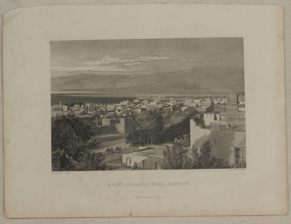 Animated view Mount Lebanon from Beirut Lebanon 1840 - 2