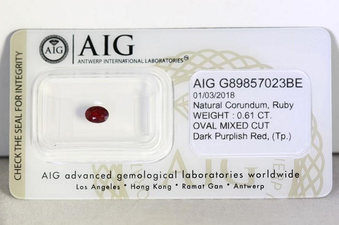 No Reserve AIG Antwerp Sealed - Ruby 0.61 ct - Dark Red
