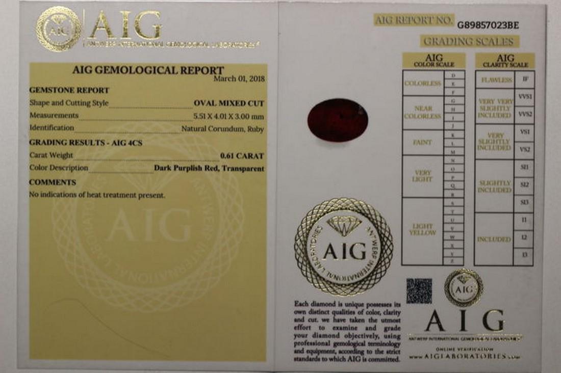 No Reserve AIG Antwerp Sealed - Ruby 0.61 ct - Dark Red - 5