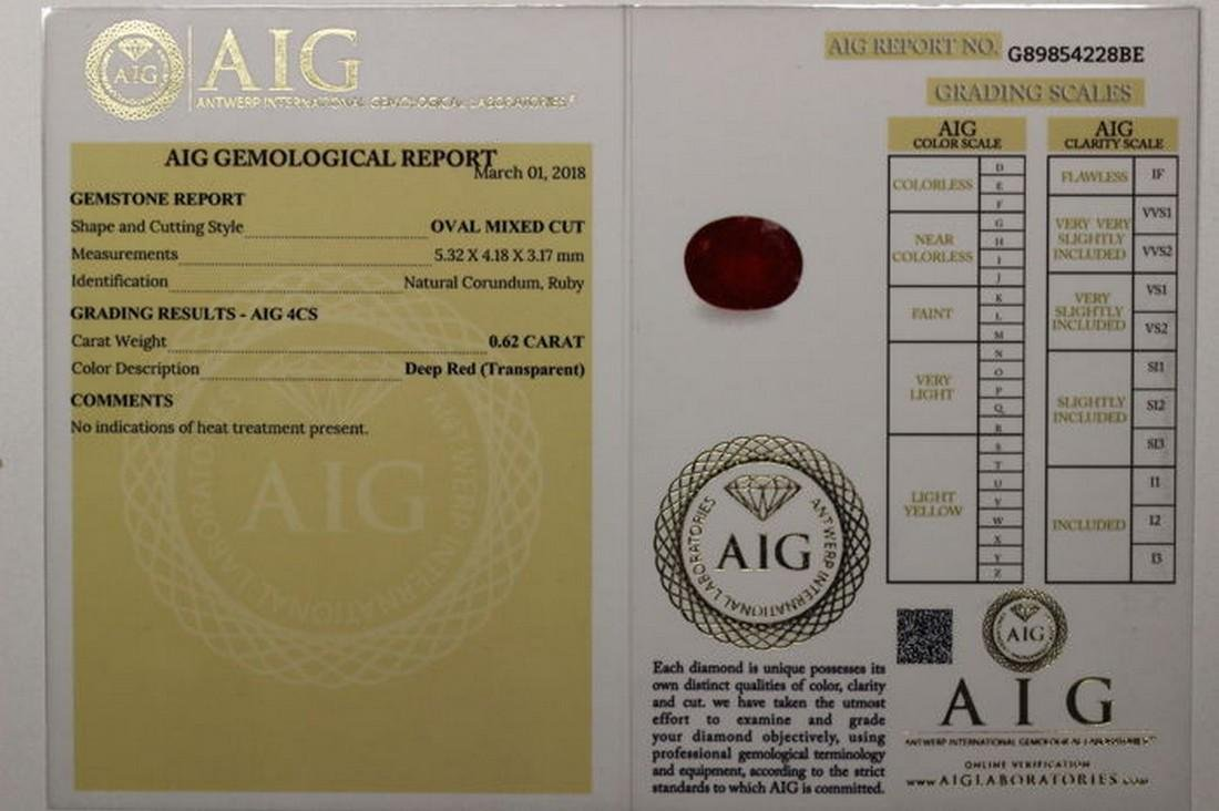 * NO RESERVE PRICE * -  Ruby - 0.62 ct - Deep Red - AIG - 5