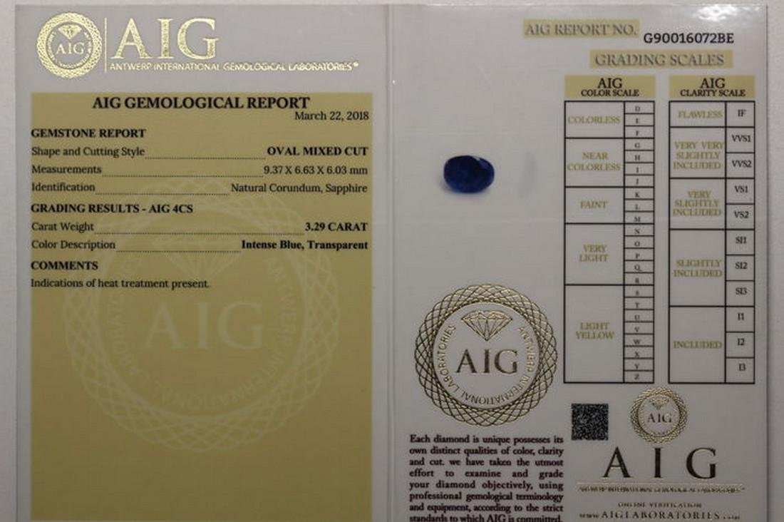 AIG Antwerp - Sapphire - 3.29 ct - Intense Blue - 5
