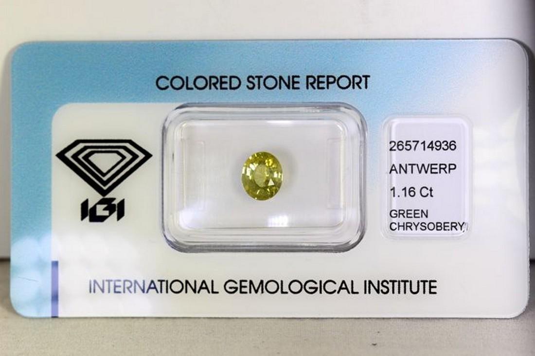 IGI Antwerp Certificate - Chrysoberyl - 1.16 ct