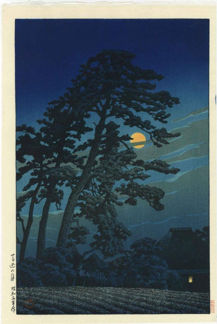 Hasui Kawase Woodblock Full Moon at Magome