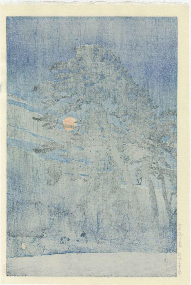 Hasui Kawase Woodblock Full Moon at Magome - 2