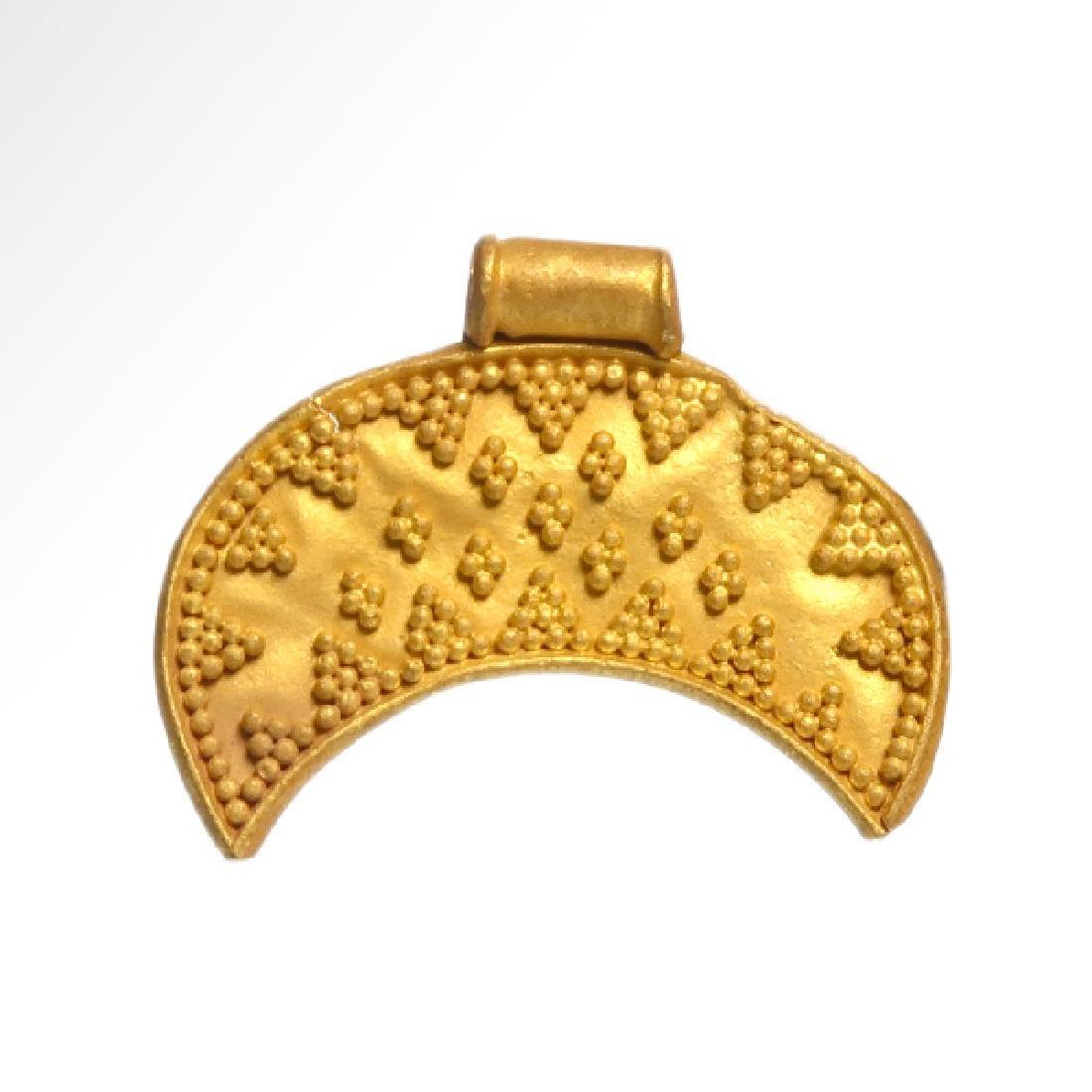Viking Gold Lunar Pendant, c. 10th Century A.D.