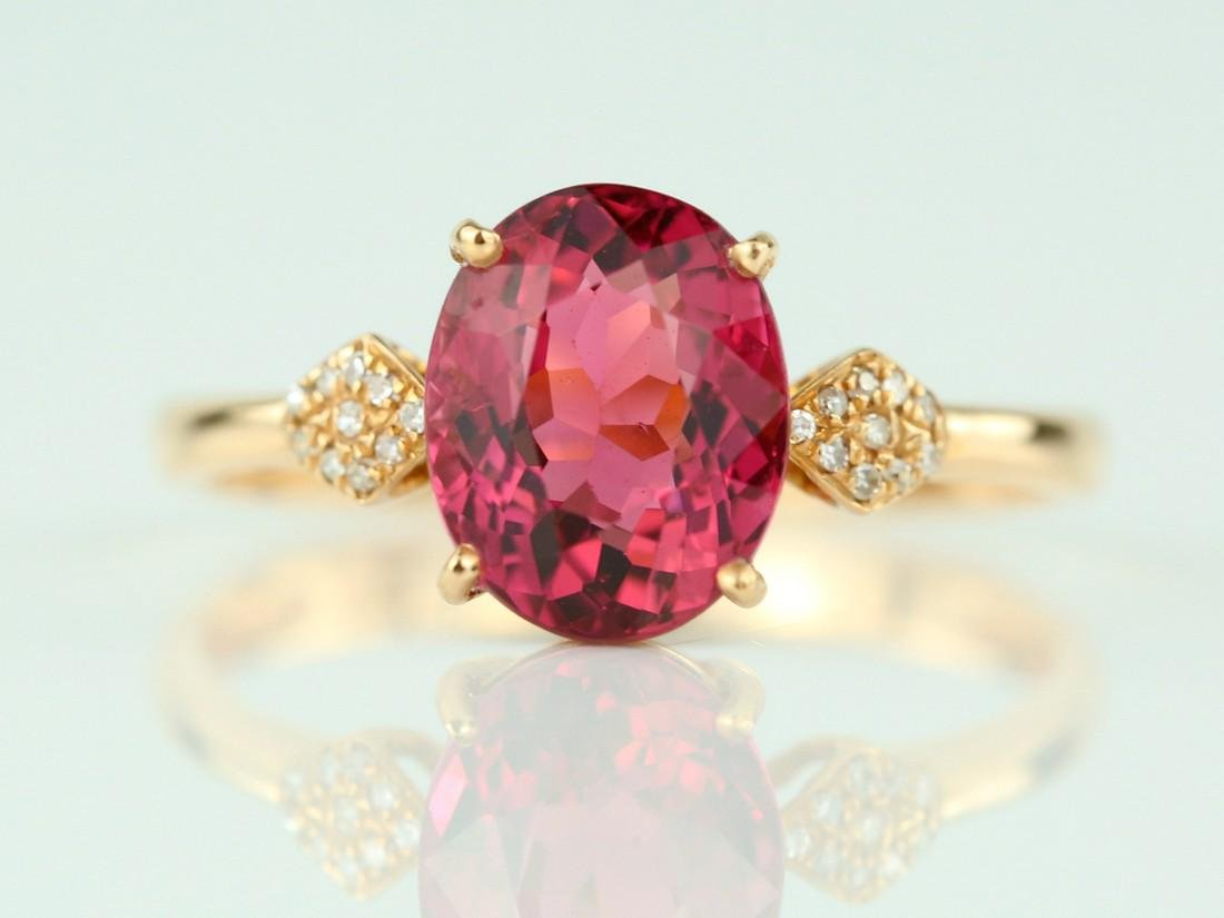 Certified-18k rose gold ring with pink Tourmaline