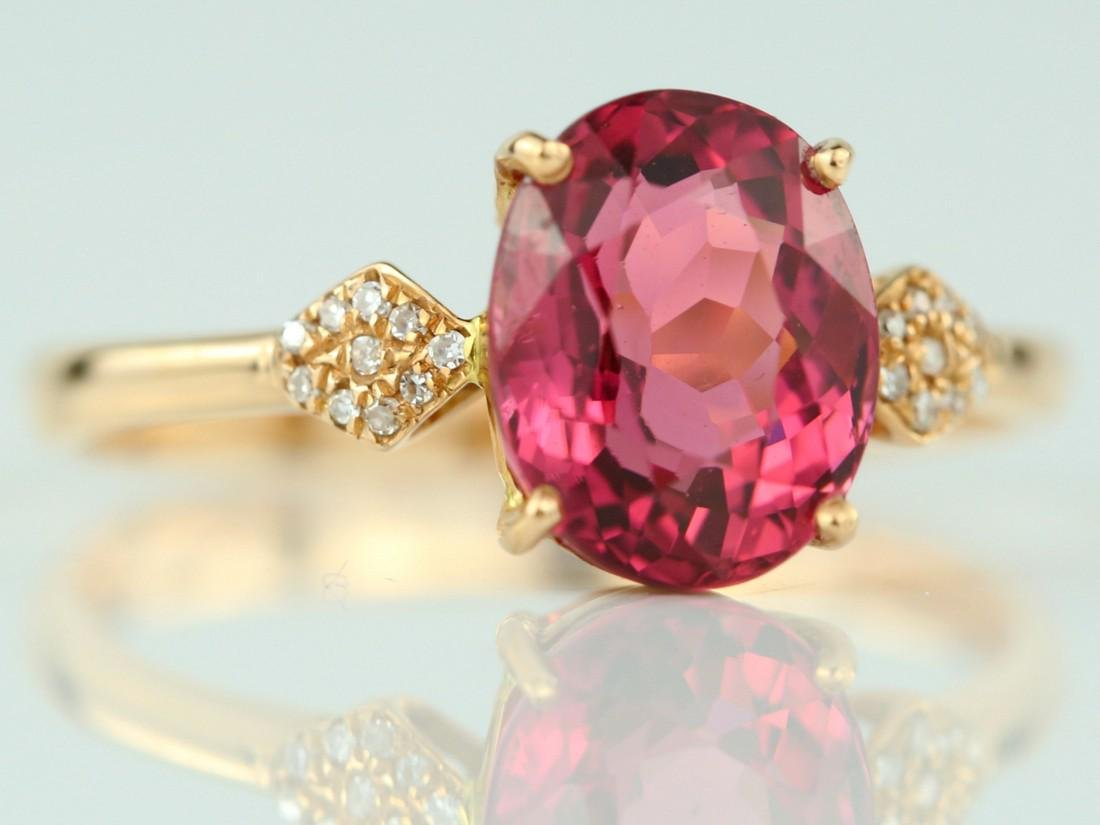 Certified-18k rose gold ring with pink Tourmaline - 2
