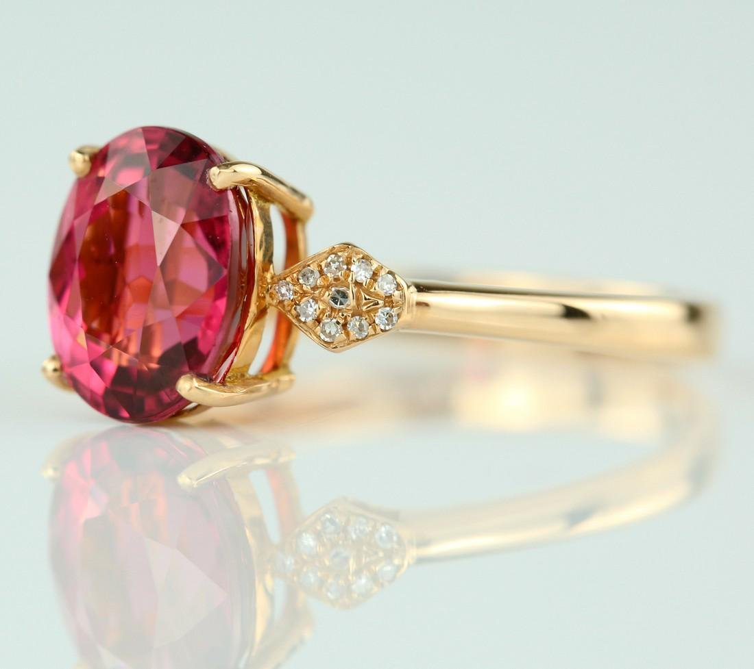 Certified-18k rose gold ring with pink Tourmaline - 4