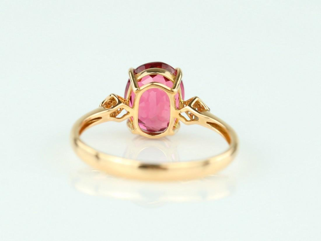 Certified-18k rose gold ring with pink Tourmaline - 5