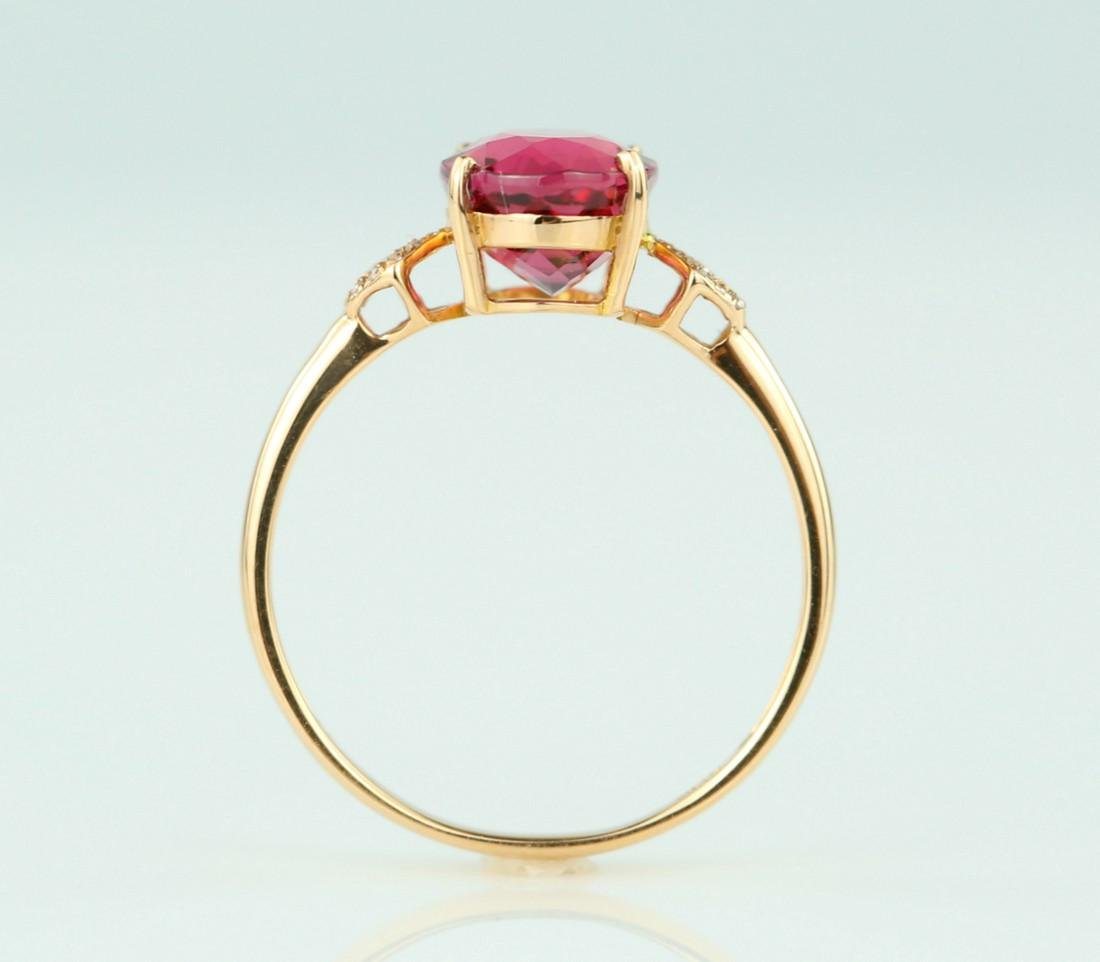 Certified-18k rose gold ring with pink Tourmaline - 6